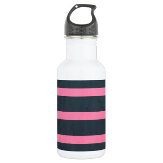 pink & navy stripes 532 ml water bottle