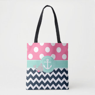 Pink Navy Teal Whale Tote Bag