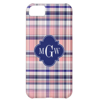 Pink Navy White Preppy Madras Quatrefoil Monogram iPhone 5C Case