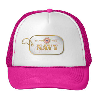 Pink Navy Wife Dog Tag Hats