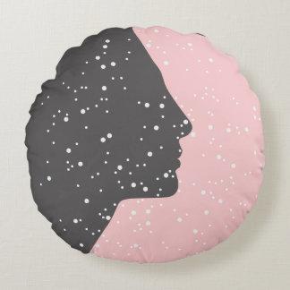 Pink Nefertiti cushion constellations gray