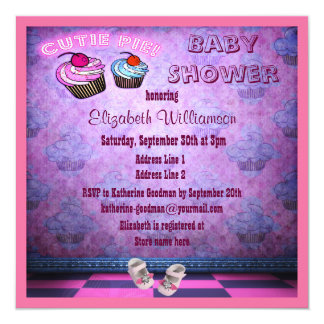 Pink Neon Cupcakes & Baby Shoes Baby Shower 13 Cm X 13 Cm Square Invitation Card