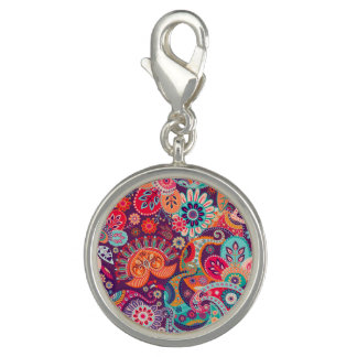 Pink neon Paisley floral pattern