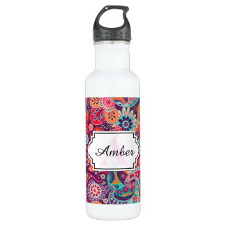 Pink neon Paisley floral pattern 710 Ml Water Bottle
