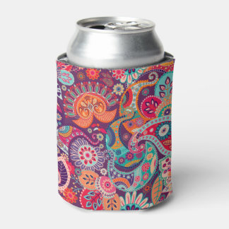 Pink neon Paisley floral pattern Can Cooler