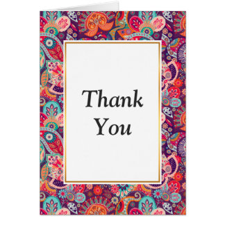Pink neon Paisley floral pattern Card