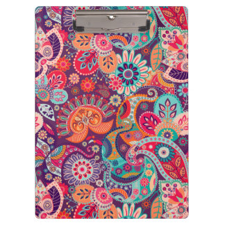 Pink neon Paisley floral pattern Clipboard
