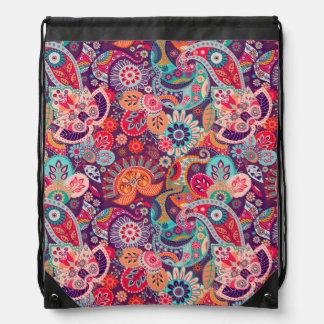 Pink neon Paisley floral pattern Drawstring Bag