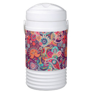 Pink neon Paisley floral pattern Drinks Cooler