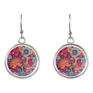 Pink neon Paisley floral pattern Earrings