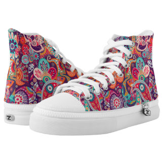 Pink neon Paisley floral pattern High Tops