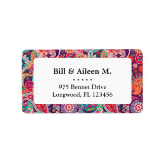 Pink neon Paisley floral pattern Label