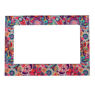 Pink neon Paisley floral pattern Magnetic Frame
