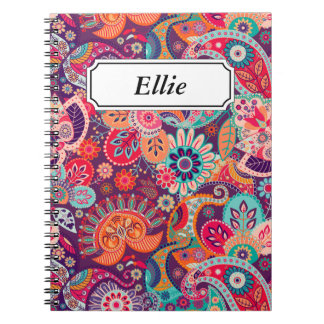 Pink neon Paisley floral pattern Notebook