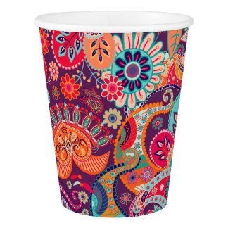 Pink neon Paisley floral pattern Paper Cup