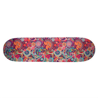 Pink neon Paisley floral pattern Skate Board Deck