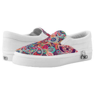 Pink neon Paisley floral pattern Slip On Shoes