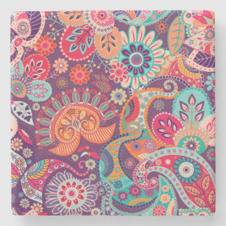 Pink neon Paisley floral pattern Stone Coaster