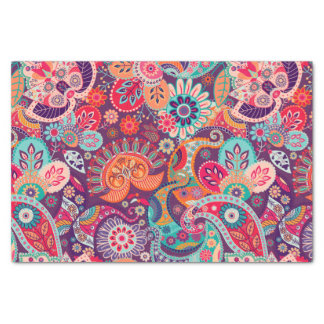 Pink neon Paisley floral pattern Tissue Paper