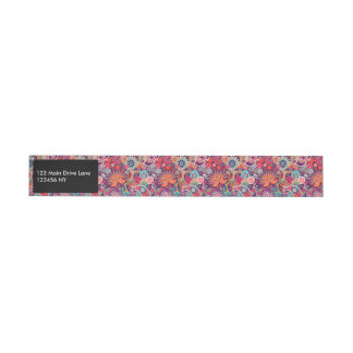 Pink neon Paisley floral pattern Wraparound Address Label