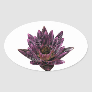 Pink Neon Water Lily Oval Sticker