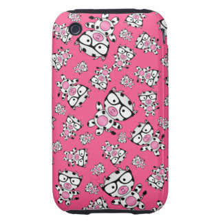 Pink nerd cow pattern tough iPhone 3 cover