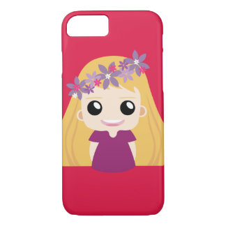pink net idol girl with flower band iPhone 8/7 case