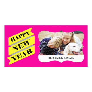 Pink New Year Photo Cards
