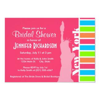Pink New York; Retro Neon Rainbow 13 Cm X 18 Cm Invitation Card