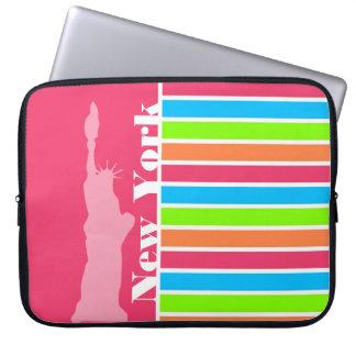 Pink New York; Retro Neon Rainbow Laptop Computer Sleeves