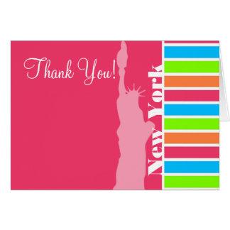 Pink New York; Retro Neon Rainbow Note Card