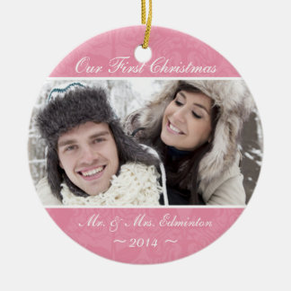 Pink Newlywed First Christmas Ornament
