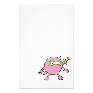 pink ninja monster personalised stationery