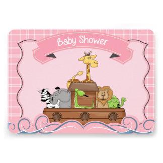 Pink Noah s Ark Baby Shower Invitation Cards