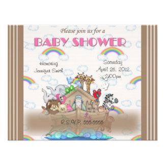 Pink Noah s Ark Baby Shower Invitation