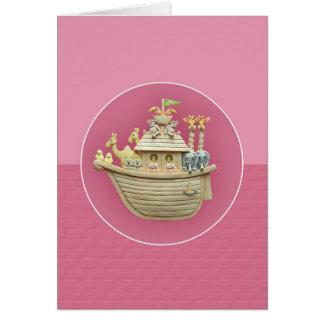 Pink Noah's Ark Greeting Card