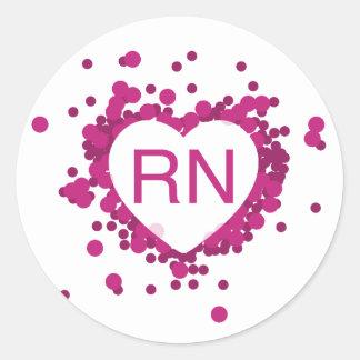 Pink Nurse RN Heart Sticker