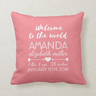 Pink Nursery Baby Girl Birth Stats Typography Throw Pillow