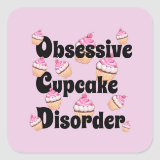 Pink Obsessive Cupcake Disorder Sticker