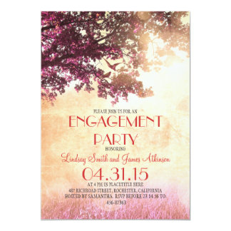 Pink old oak tree & love birds engagement party card