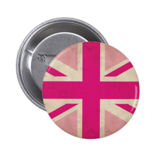 Pink Old Union Jack  Button Badge