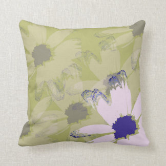 Pink Olive Green Daisy Floral Art Pillows
