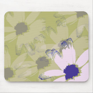Pink Olive Green Daisy Floral Art Mouse Pad