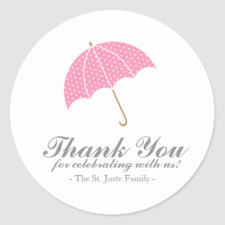 pink ombre BABY SHOWER personalized party favor Round Sticker
