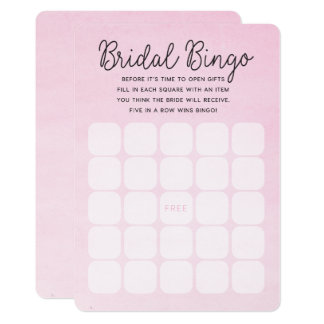Pink Ombre Bridal Shower | Bridal Bingo Cards