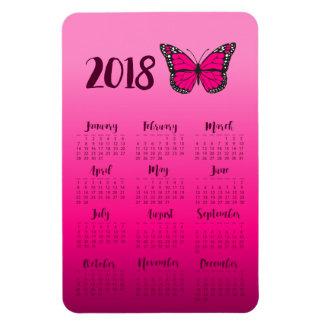 Pink Ombre Butterfly 2018 Calendar Fridge Magnet