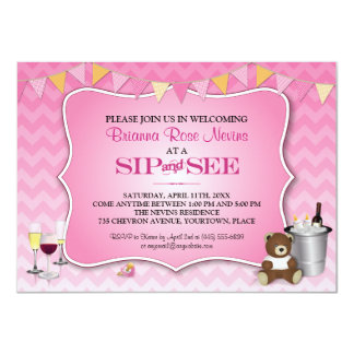 Pink Ombre Chevron Baby Sip and See 11 Cm X 16 Cm Invitation Card