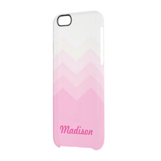 Pink Ombre Chevron Pattern Custom Name Transparent Clear iPhone 6/6S Case