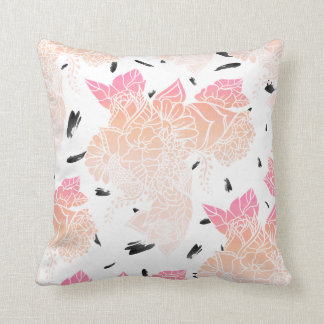 Pink ombre coral watercolor floral illustration cushion