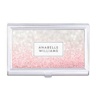 Pink Ombre Glitter and Bokeh Pattern Business Card Holder
